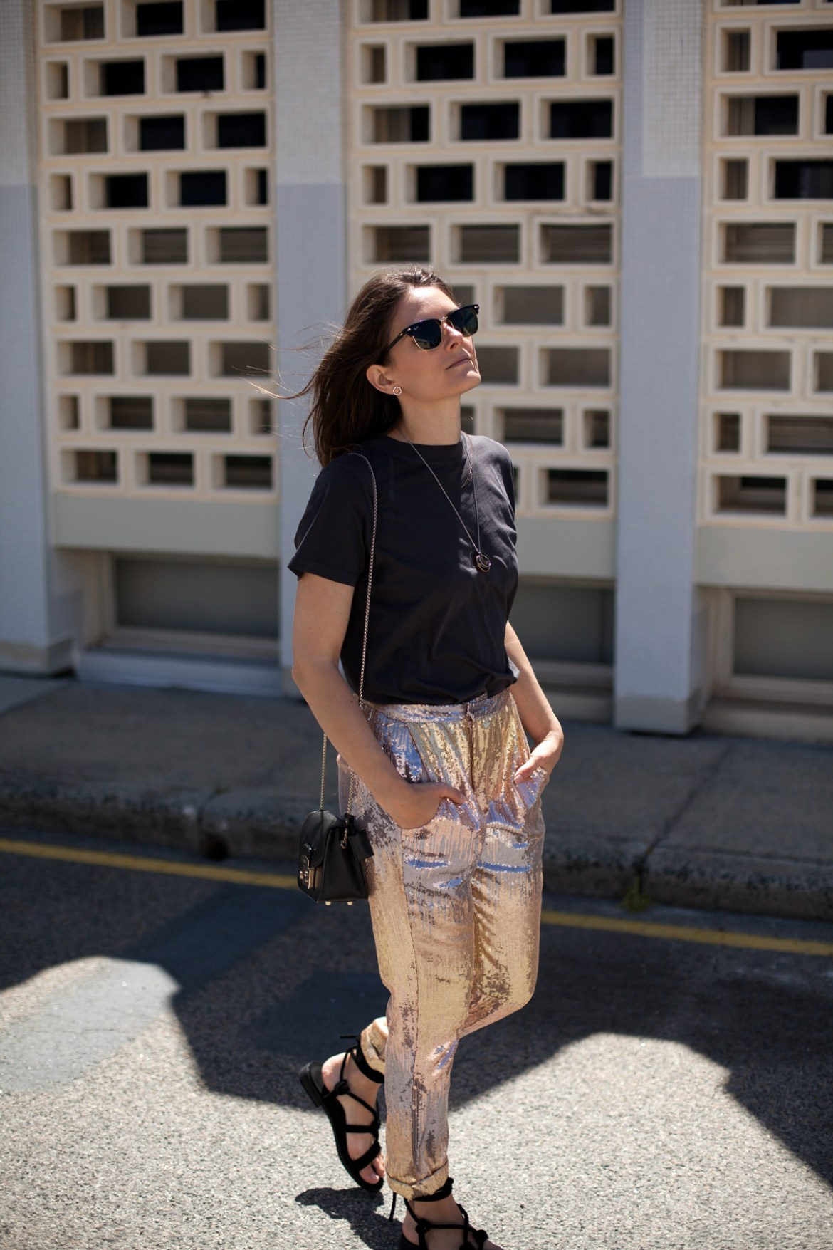 stepping out of your comfort zone Jenelle Witty of fashion blog Inspiring Wit wearing Laura Egloff sequin pants