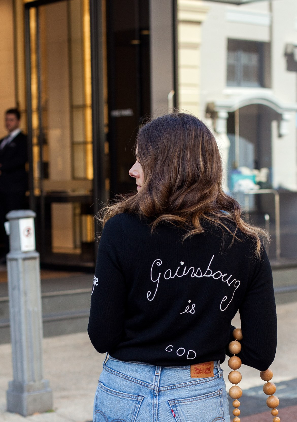 JE T'AIME JANE Gainsbourg is God sweater from Bella Freud back detail on Inspiring Wit fashion blog