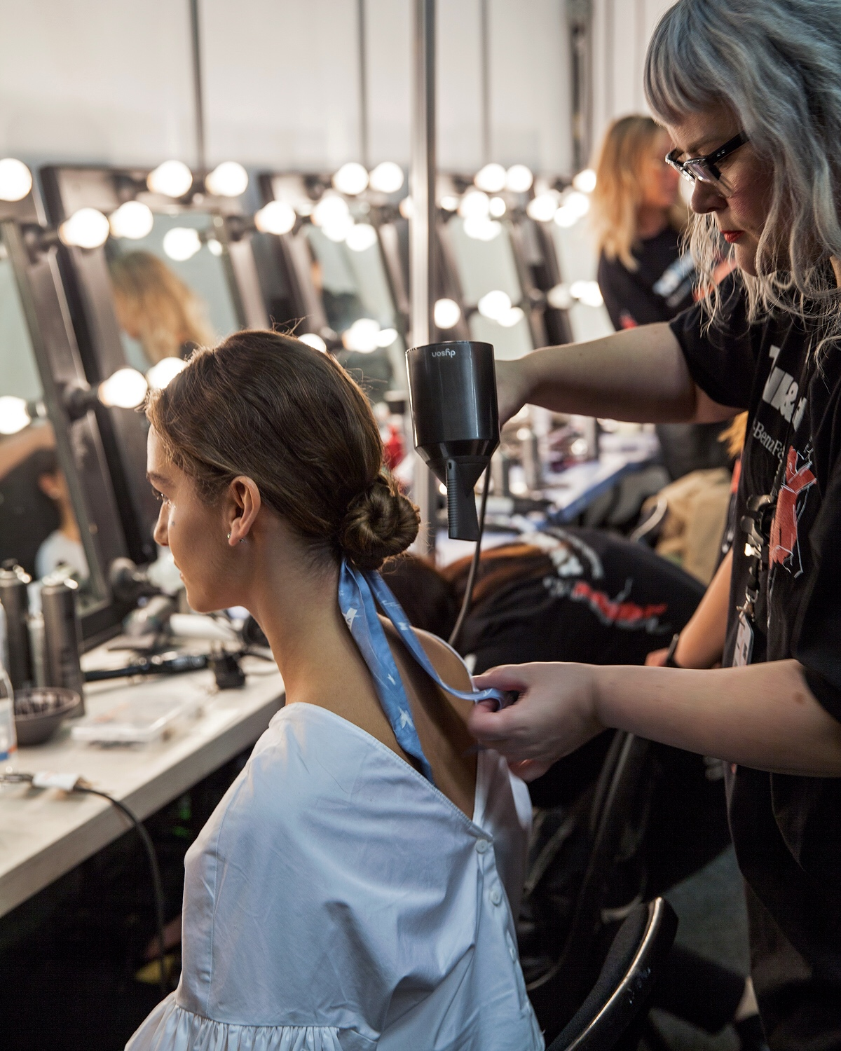 Backstage with Dyson Hair at the Leo and Lin show from MBFWA 2018 using the Dyson Supersonic