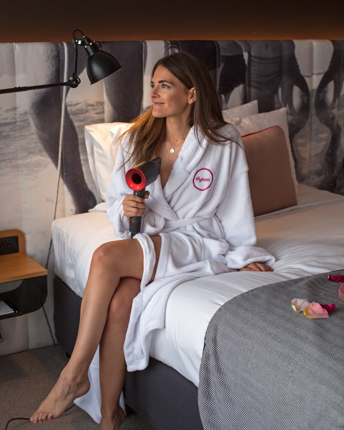 Jenelle Witty from Inspiring Wit Blog at the Ovolo Wooloomooloo hotel for MBFWA 2018 with Dyson Hair wearing Dyson robe