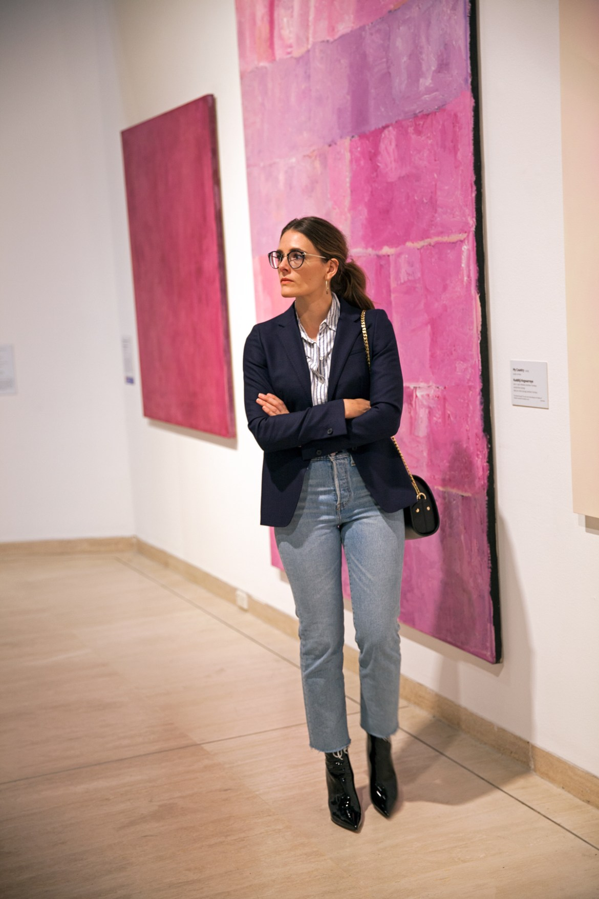 Essilor Transitions Colours Lenses worn with navy blazer, Levi's jeans and Alias Mae patent boots by Inspiring Wit blogger Jenelle at the Art Gallery of WA