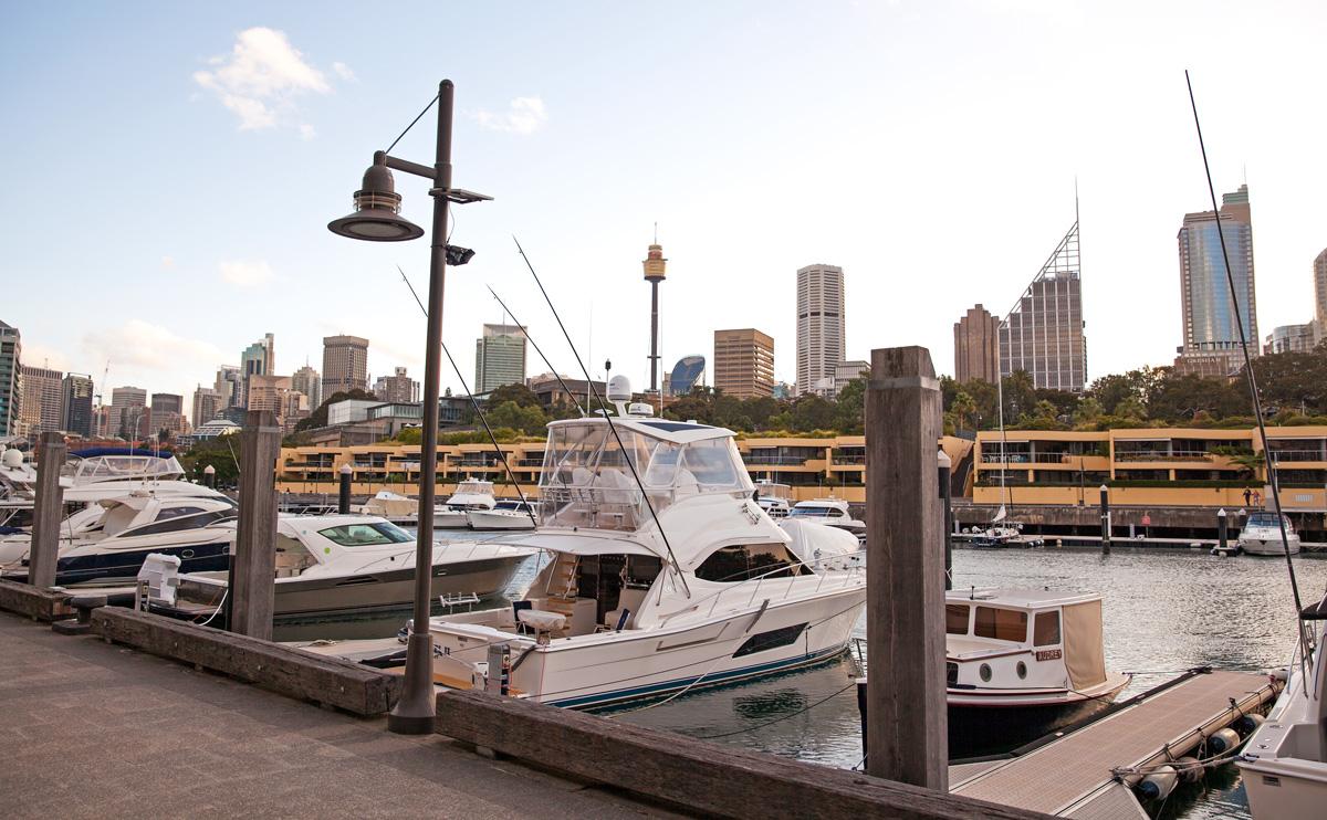 Wooloomooloo wharf boats along Sydney Harbour