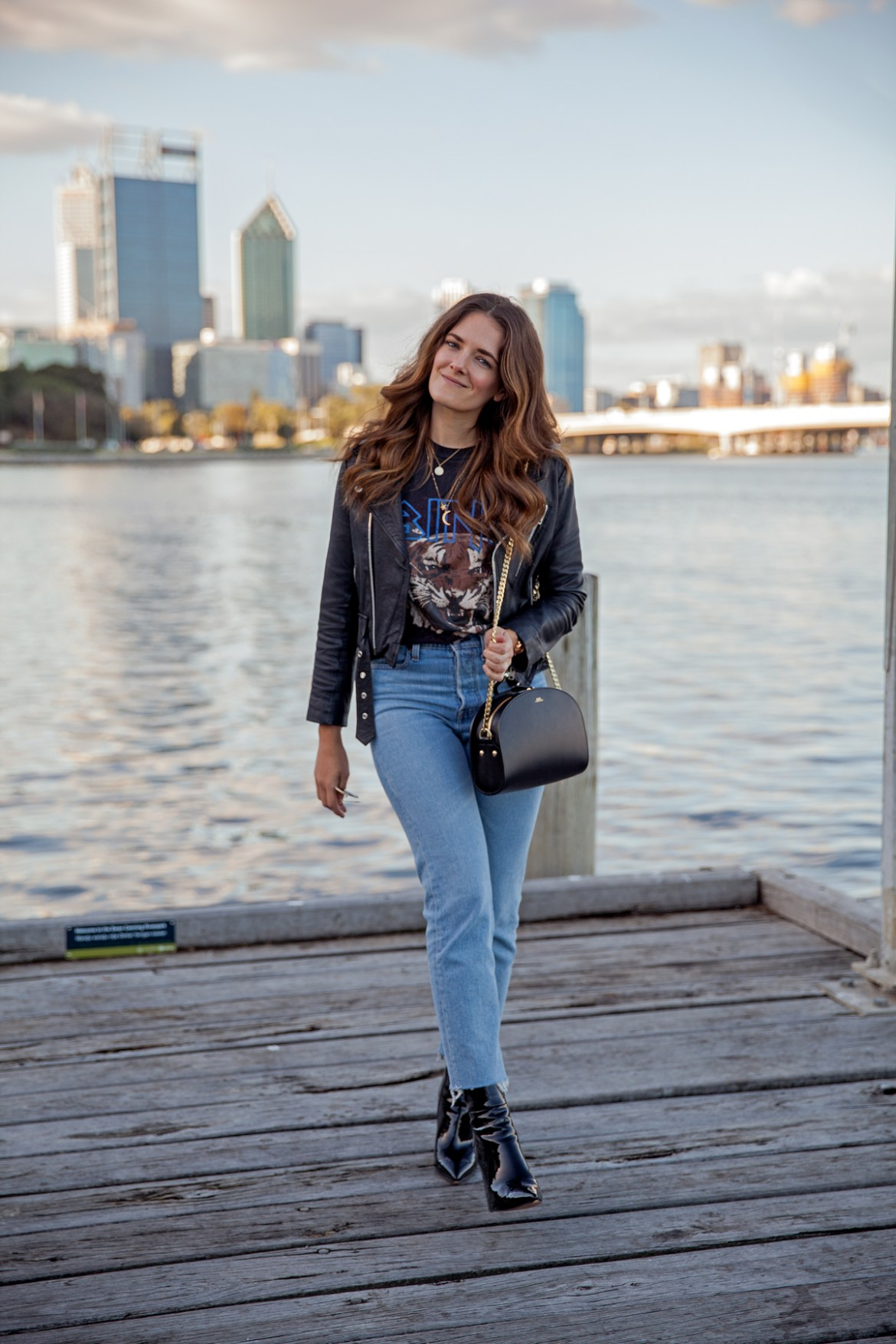 winter Anine Bing graphic tee, Levi's jeans, leather jacket and Alias Mae patent leather boots worn by Jenelle Witty, fashion blogger from Inspiring Wit in Perth