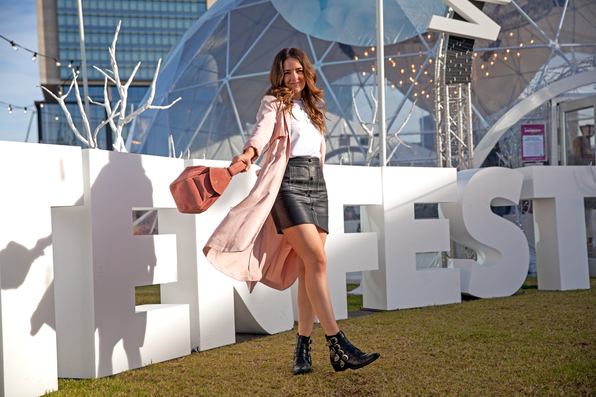 Jenelle at the Winter Fest ball pit Dome in Yagan Square for City of Perth Inspiring Wit blogger Jenelle