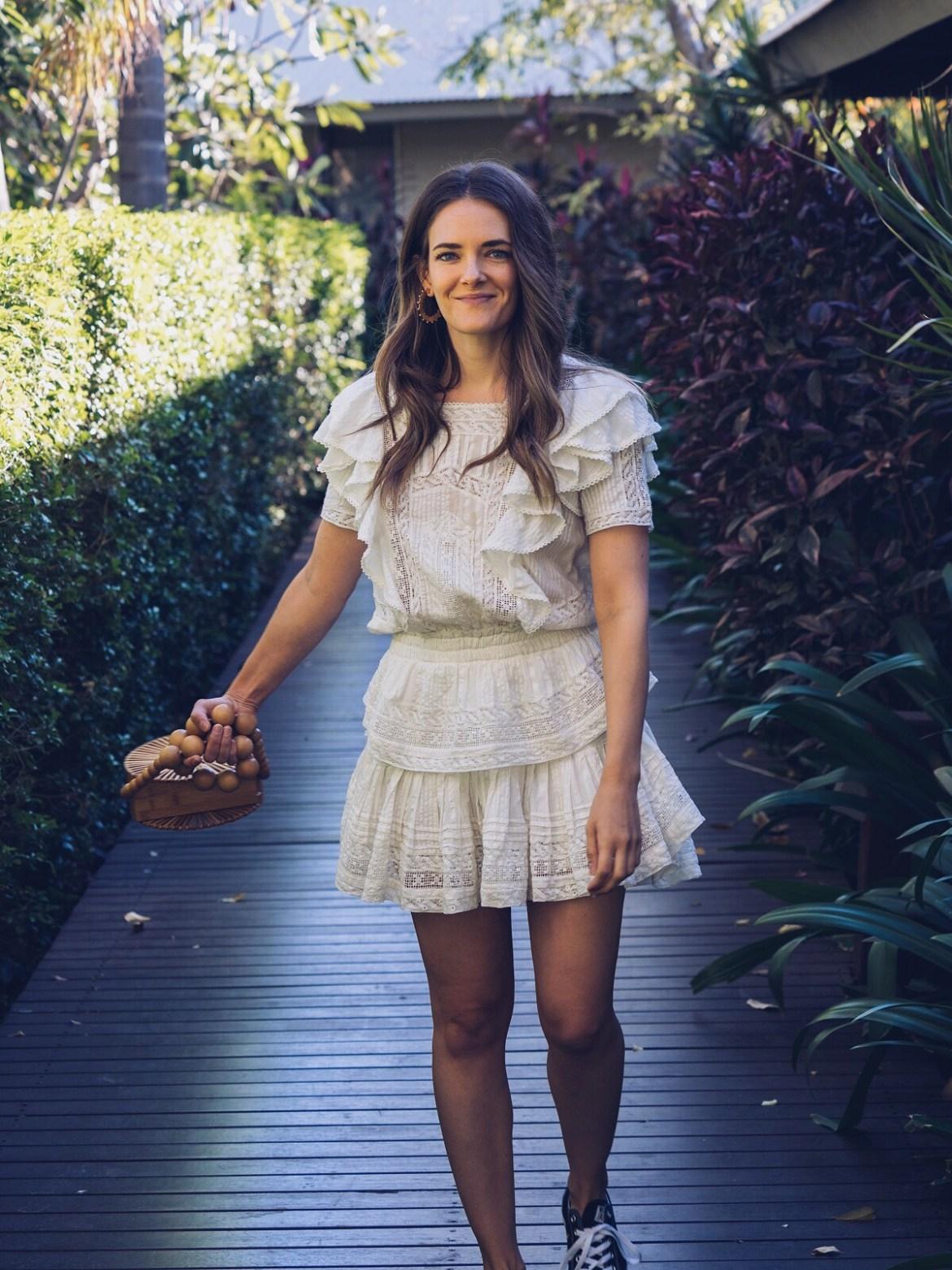 LOVESHACKFANCY little white summer dresses edit with Cult Gaia round bag Inspiring Wit Australian fashion blogger Jenelle