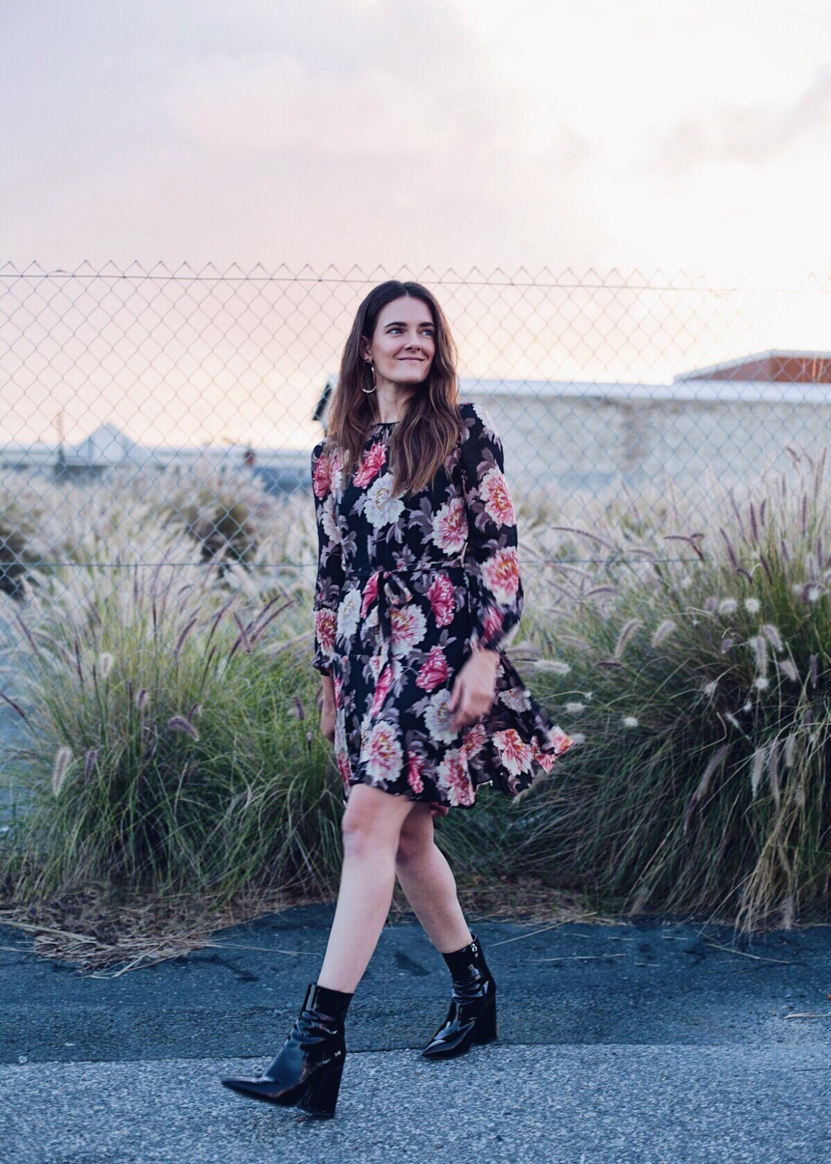 Rodeo Show Ciel floral dress worn with Alias Mae patent black boots by Inspiring Wit fashion blogger Jenelle