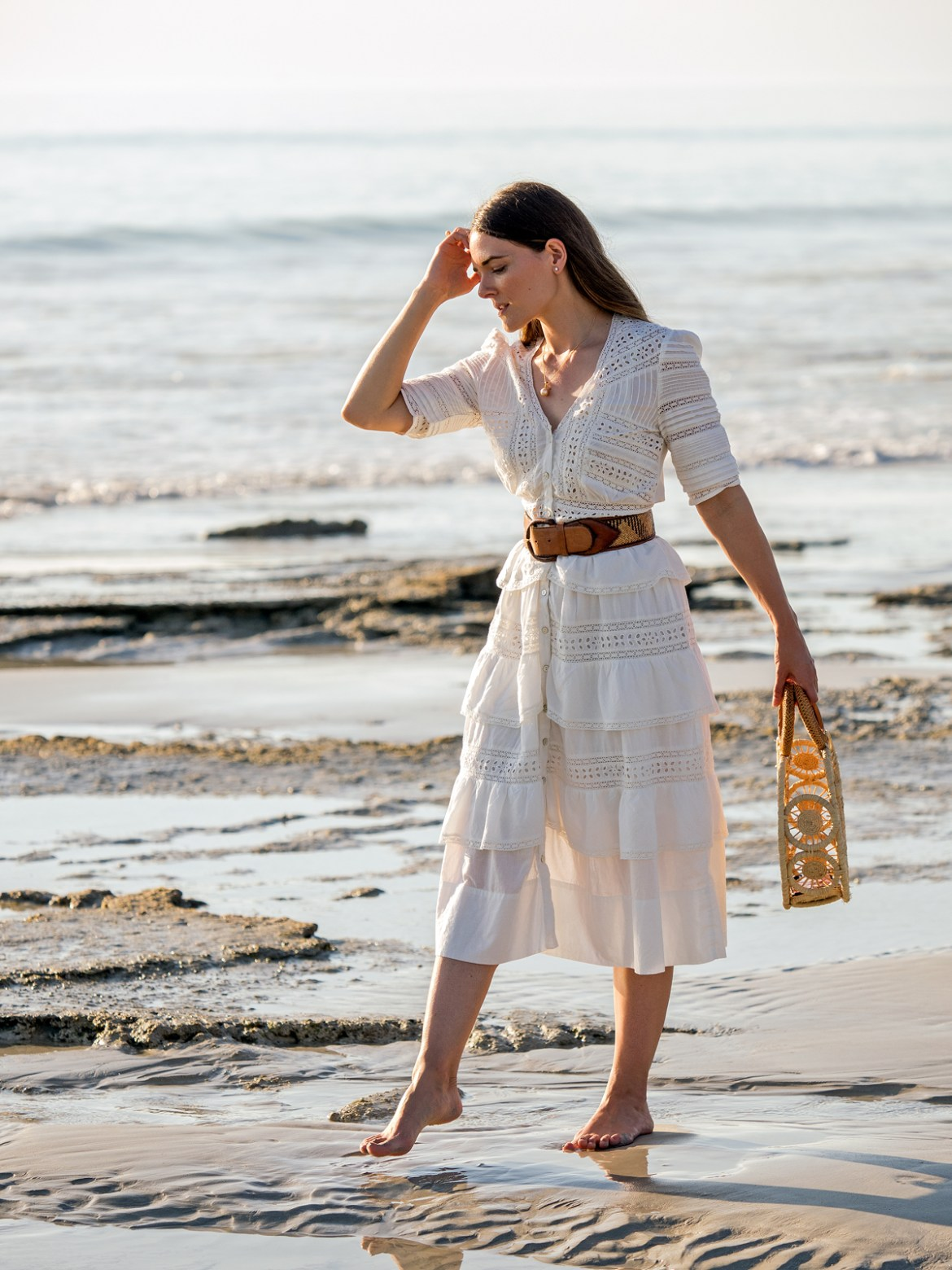Loveshackfancy Rebecca dress Cult Gaia round bag and Allue South Sea Pearls jewellery on Cable Beach in Broome summer resort outfit Jenelle from Inspiring Wit