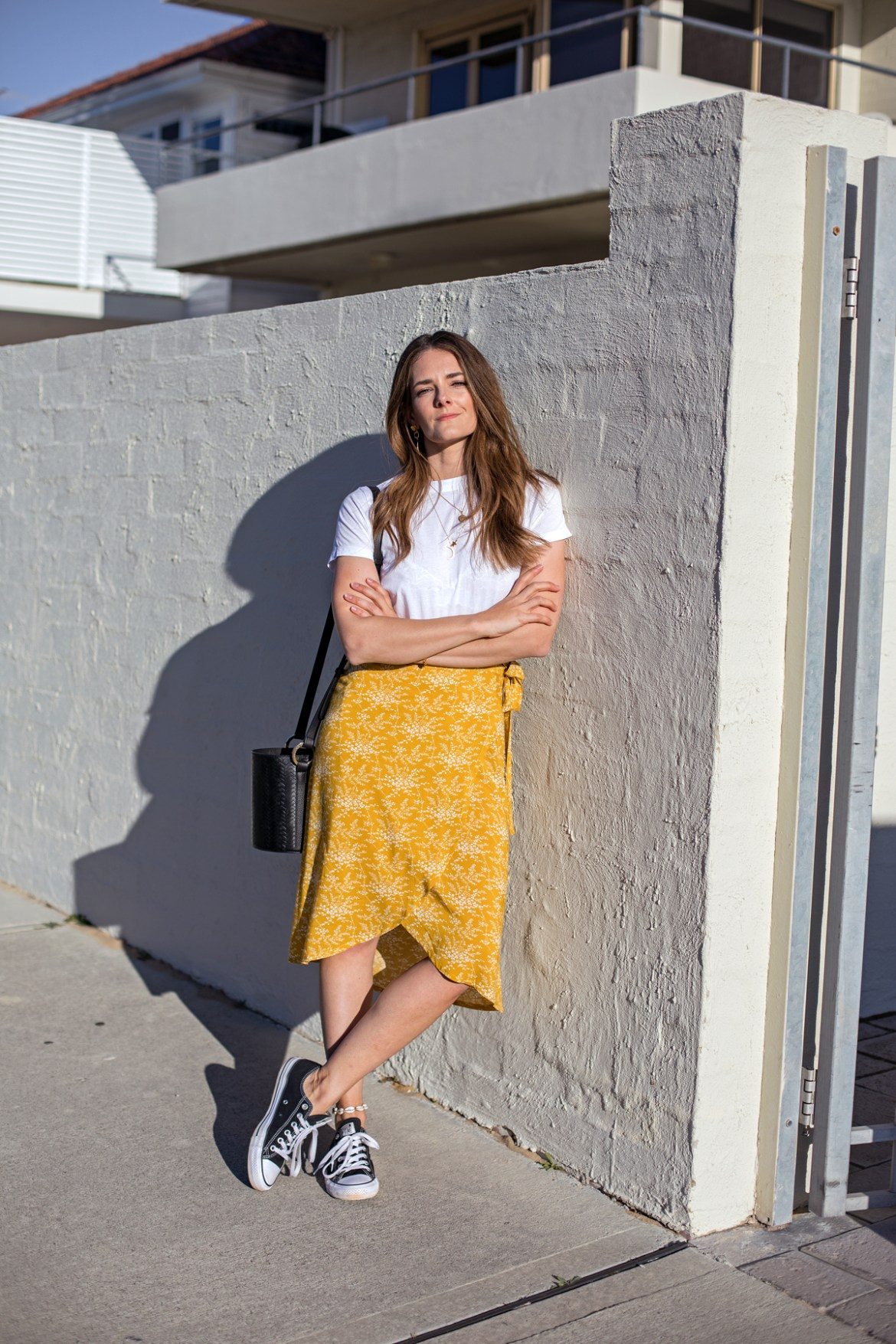 Bohemian Traders for spring 2018 mustard yellow wrap skirt worn by Jenelle Witty from Australian fashion blog Inspiring Wit