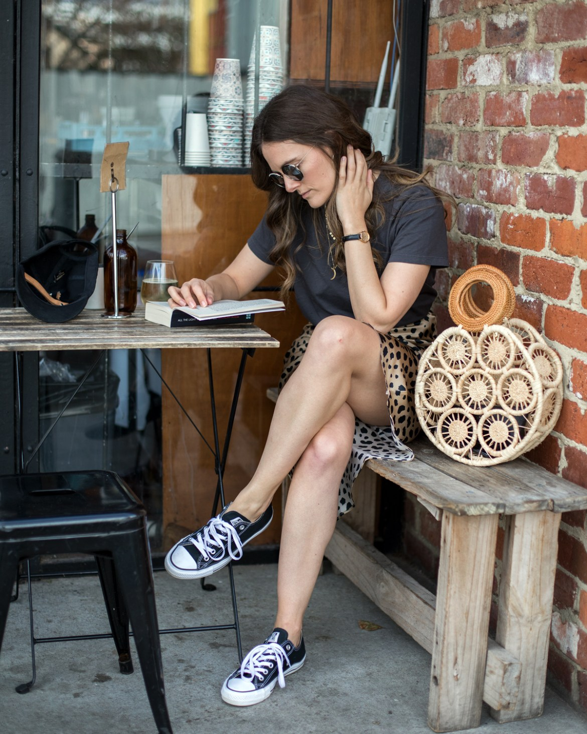Realisation Par Naomi Wild Things Leopard print skirt and Cult Gaia bag with Converse outfit worn by Inspiring Wit fashion blogger Jenelle Witty
