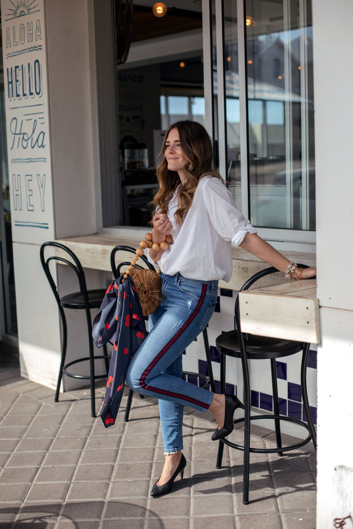 blue denim Mavi jeans with red stripe, Cult Gaia round bamboo bag, Realisation Par cherry print handkerchief and Jac + Jack white shirt worn by Inspiring Wit blogger Jenelle