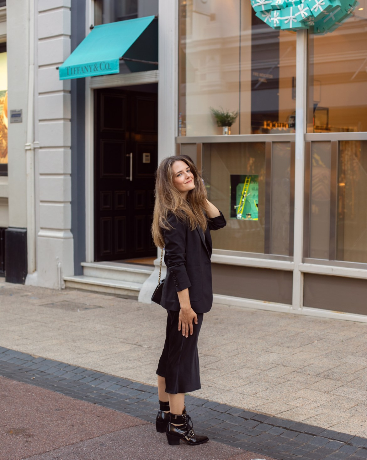 Anine Bing schoolboy blazer and slip midi skirt worn with Chloe Rylee boots and A.P.C half moon bag by Australian blogger Jenelle from Inspiring Wit