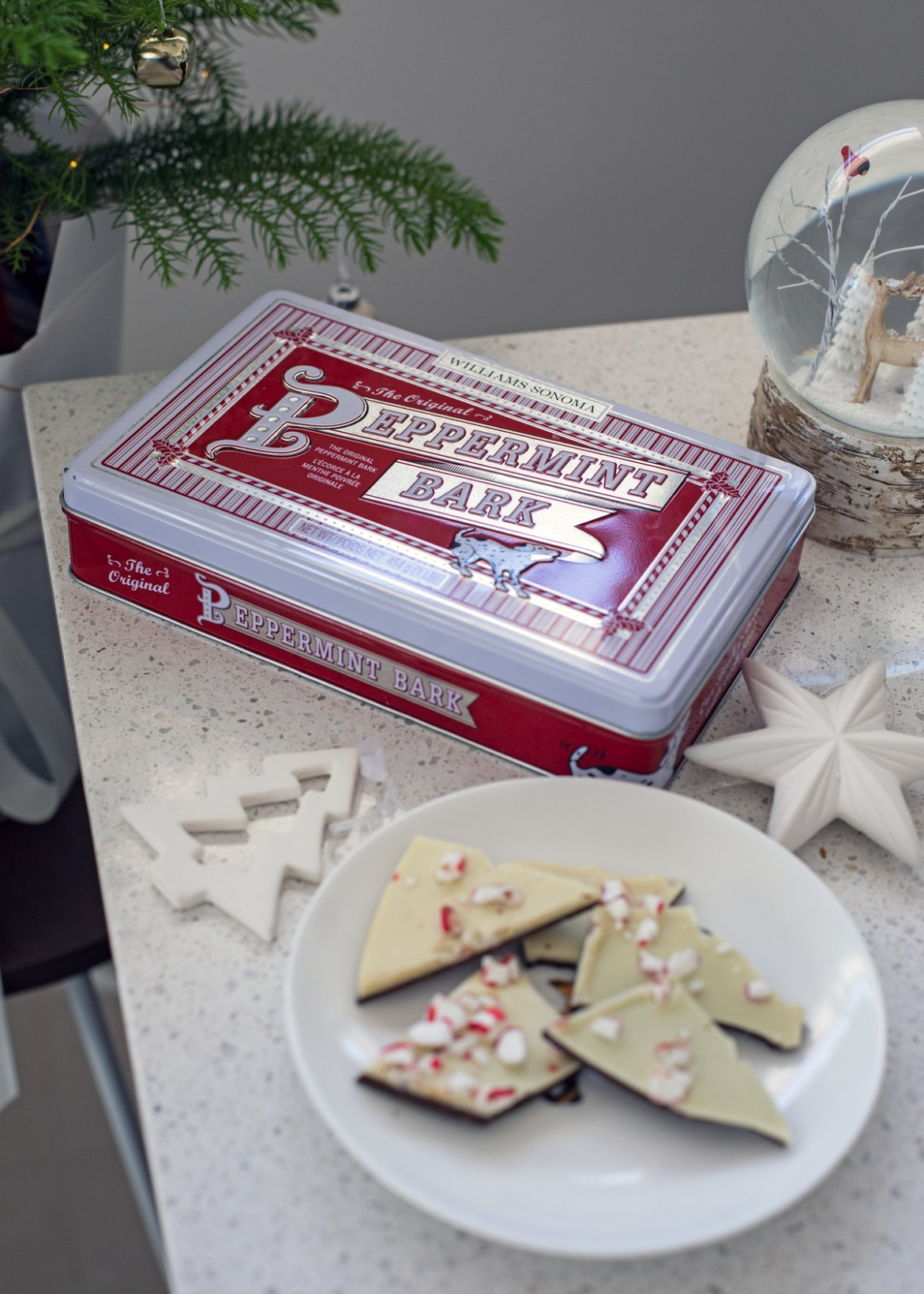 Williams Sonoma Peppermint Bark tin for a last minute Christmas gift idea