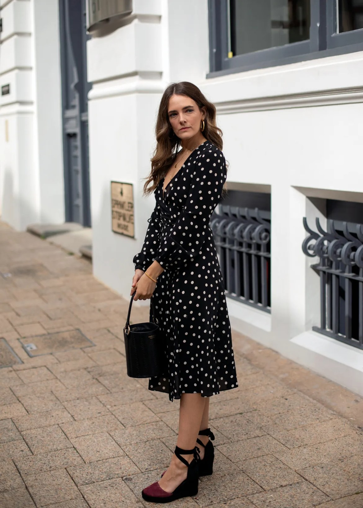 Realisation Par polka dot dress and Alohas Sandals wedge espadrilles worn by fashion and travel blogger Jenelle Witty from Inspiring Wit
