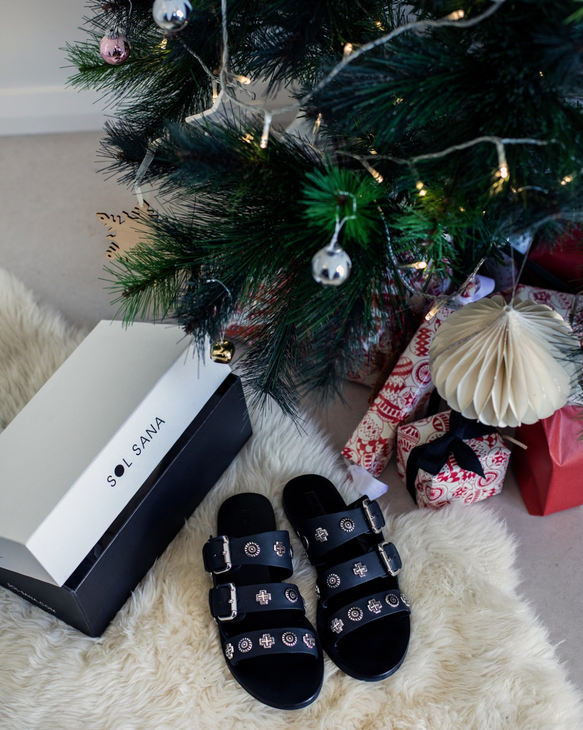 Sol Sana leather sandals under the Christmas tree for a last minute gift idea