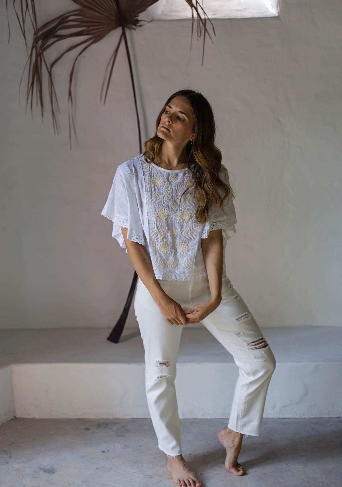 Bohemian Traders white embroidered top and boyfriend jeans worn by Australian fashion blogger Jenelle Witty from Inspiring Wit