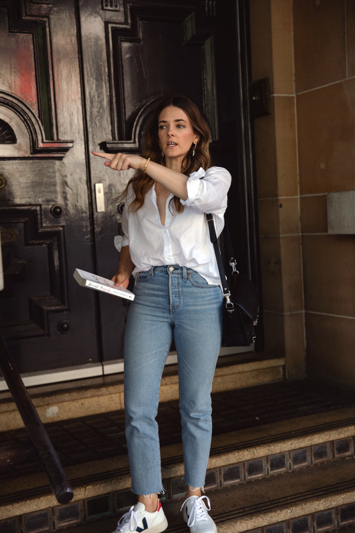 White Jac + Jack oversized shirt with Levi's wedgie straight jeans and Veja white sneakers worn by Australian fashion blogger Jenelle Witty from Inspiring Wit