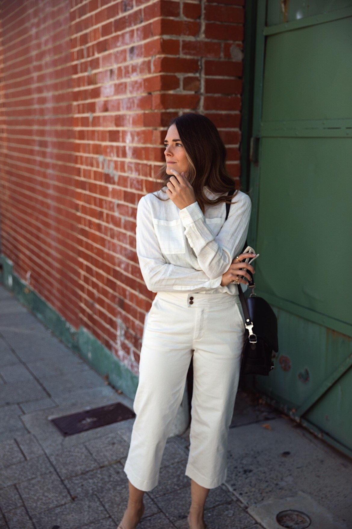 Boden cropped pants and white linen shirt outfit worn by Inspiring Wit how to style cropped pants