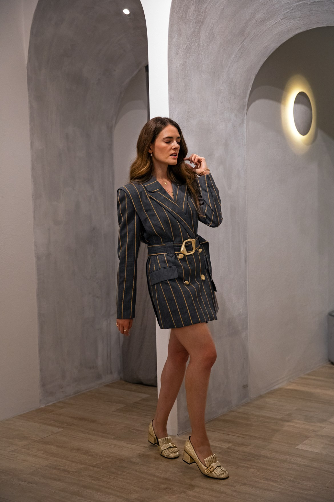 Aje Blazer dress from Autumn 19 collection worn by Inspiring Wit fashion blogger Jenelle with Gold Gucci Marmont Heels