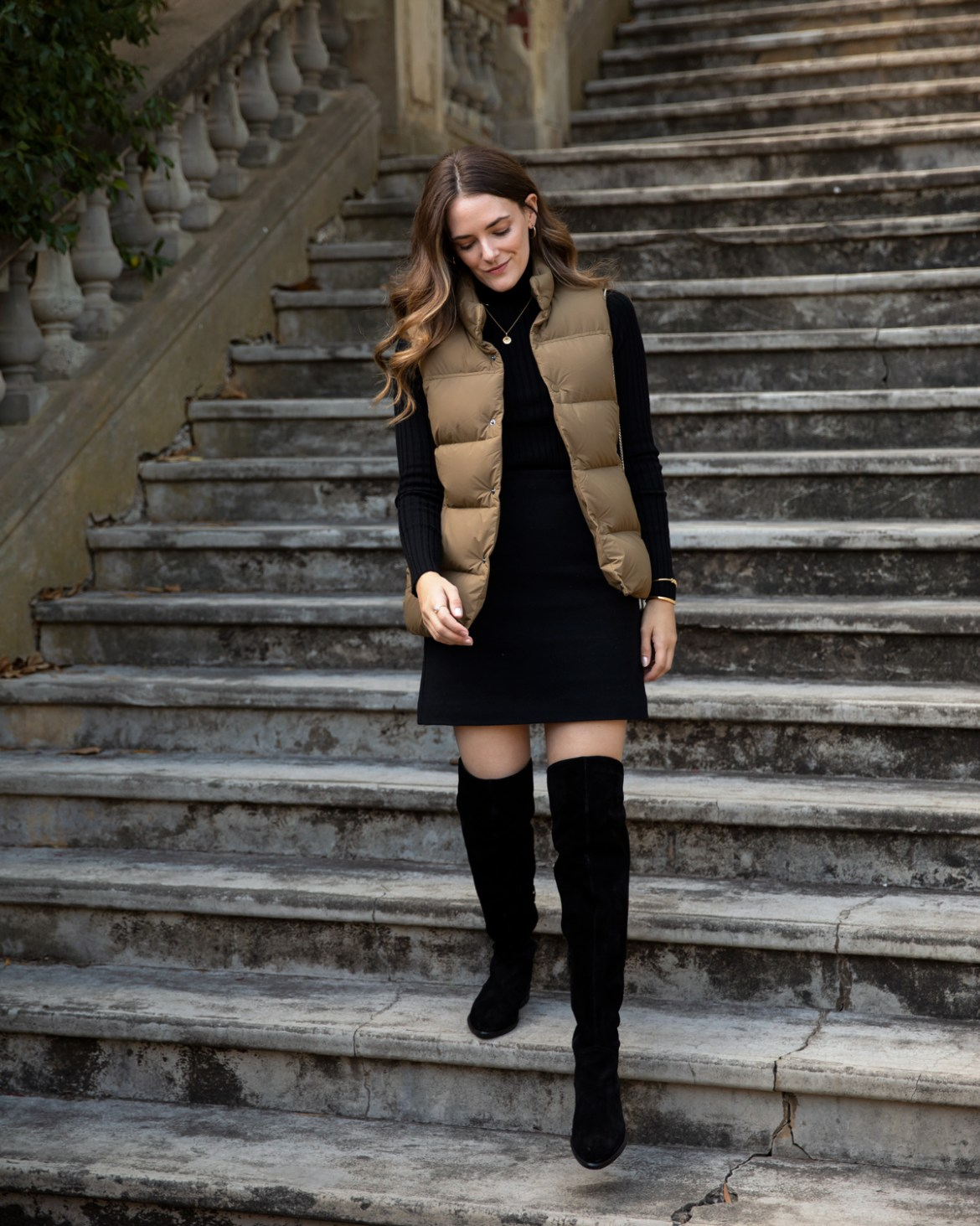 Uniqlo ULD vest outfit with black mini skirt and over the knee boots autumn outfit idea with Inspiring Wit fashion blogger Jenelle