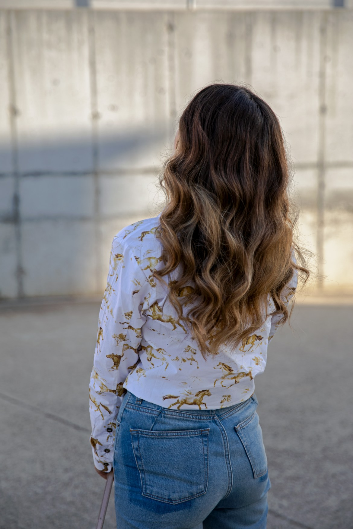 beach wave hair style Ganni horse print shirt outfit from Shopbop worn by fashion blogger Jenelle Witty from Australian blog Inspiring Wit