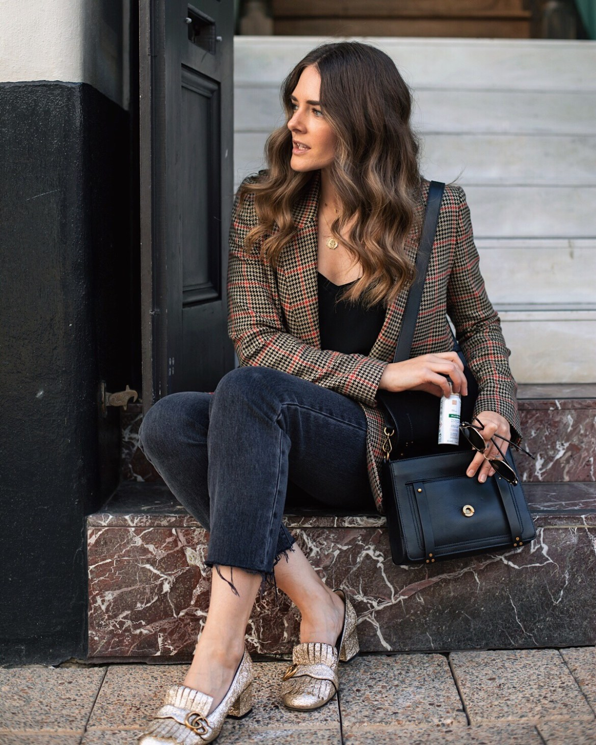 Gucci marmont shoes, check blazer outfit