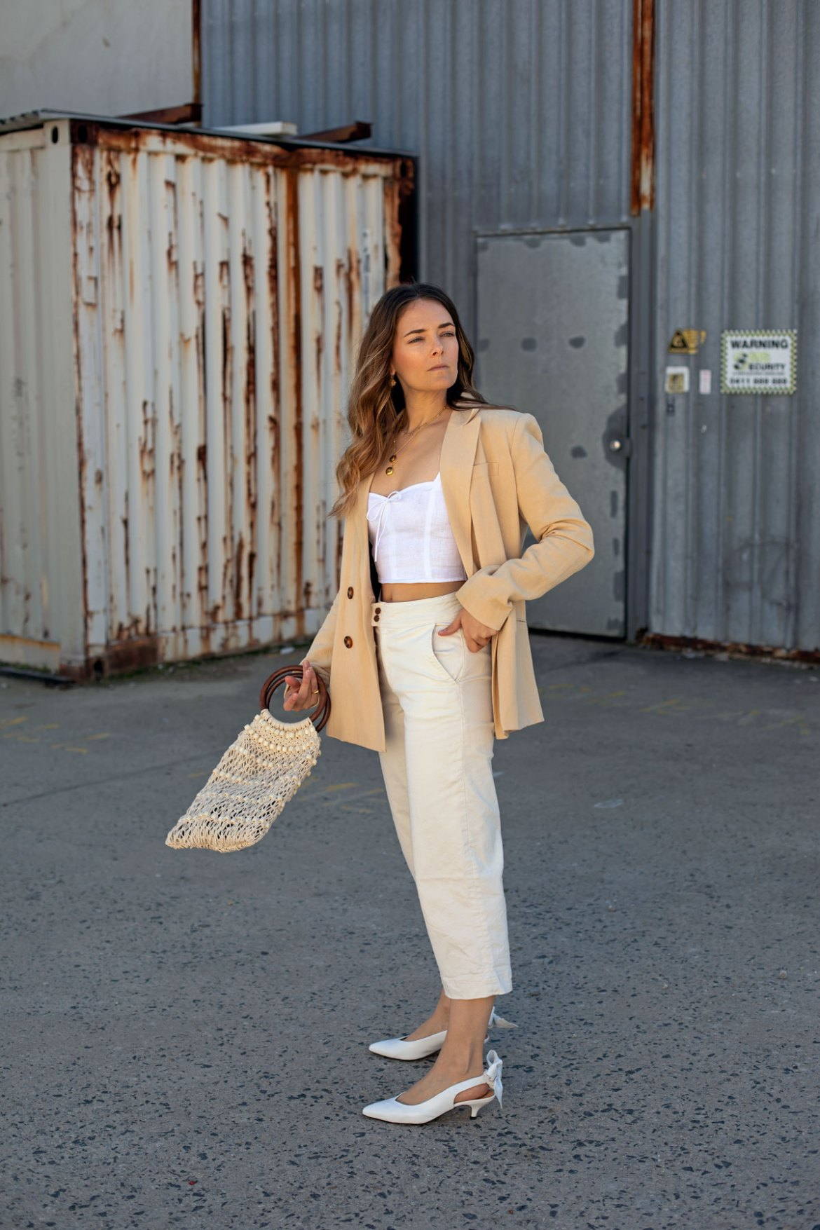 cream white and beige outfit idea