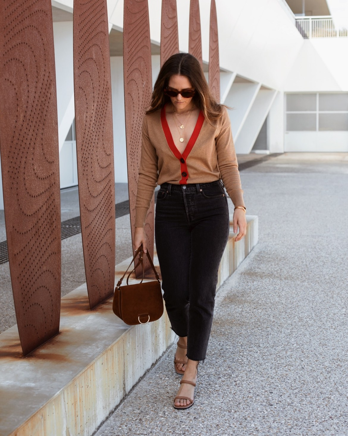 transition weather outfit idea with cardigan