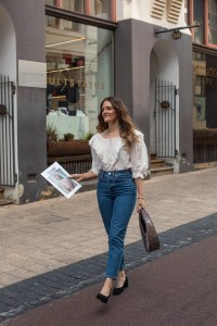 Every day jeans and ruffle blouse outfit idea from Inspiring Wit fashion blogger Jenelle Witty