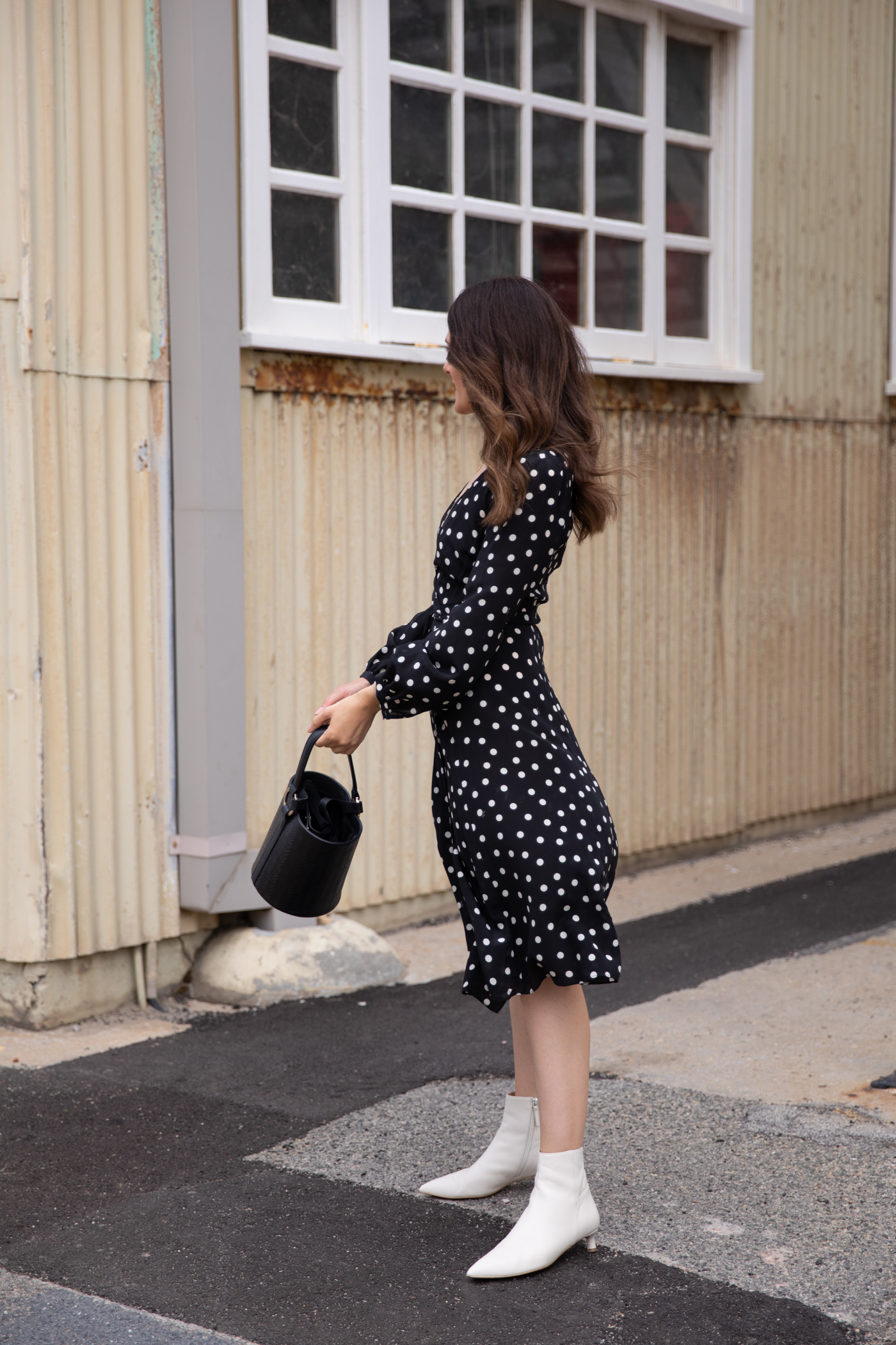 white ankle boots and how to style them in autumn with a dress