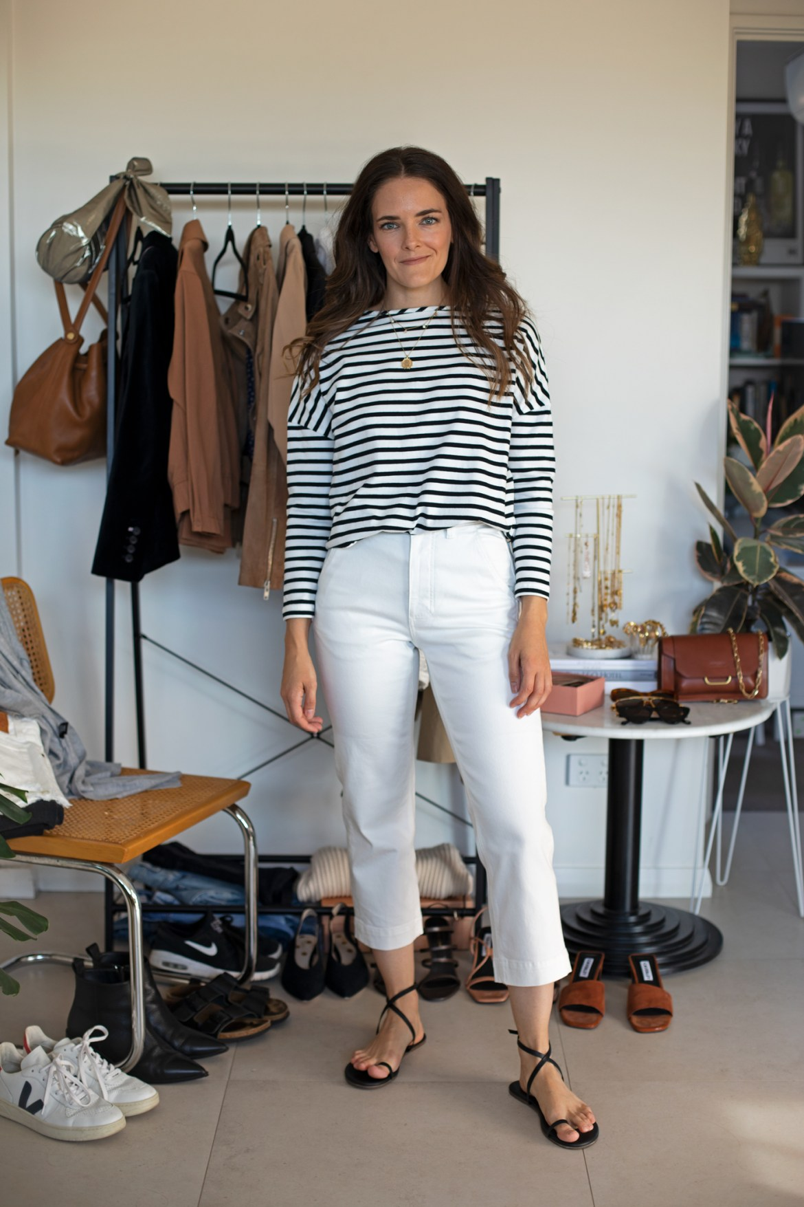 Bohemian Traders striped boyfriend tee and Everlane white crop pants outfit from the 7 ways 7 days at home outfit ideas for a week at home in ISO styling video on IGTV @inspiringwit