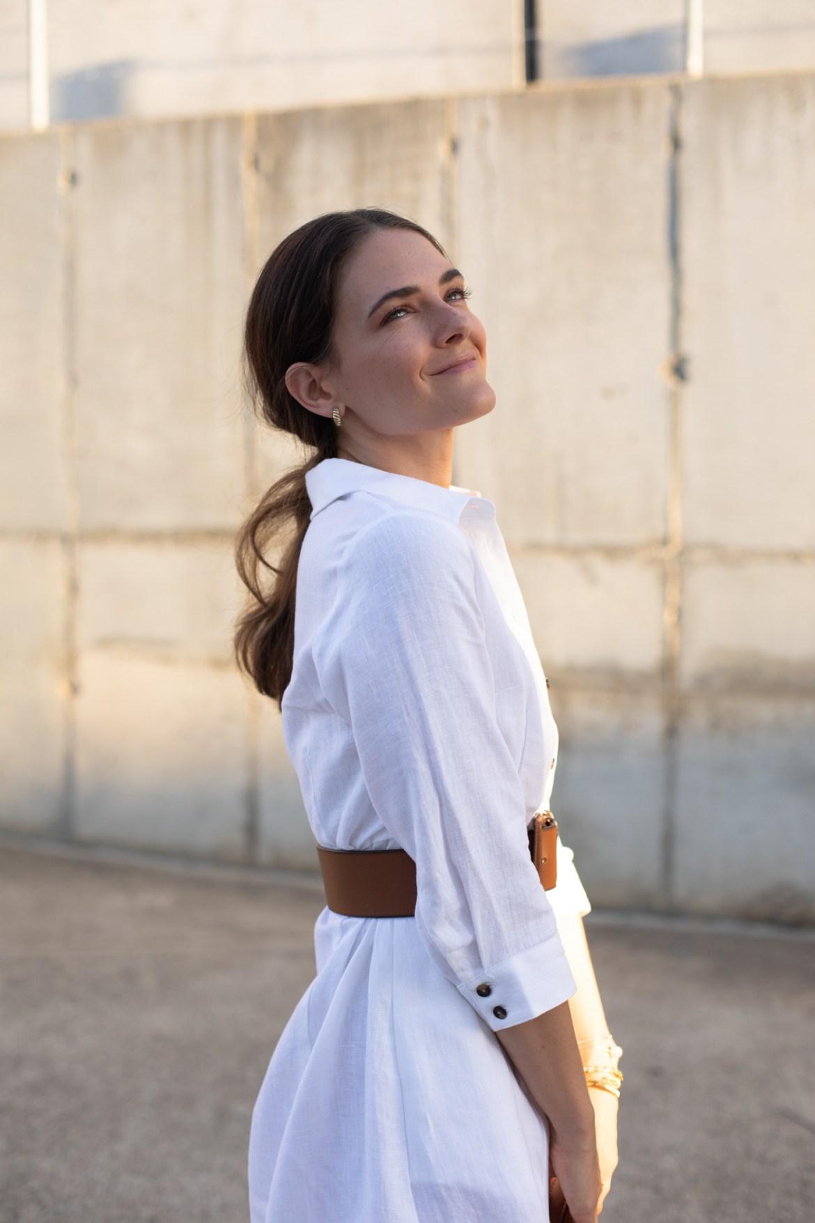Jenelle Witty from Australian style blog Inspiring Wit wearing white linen
