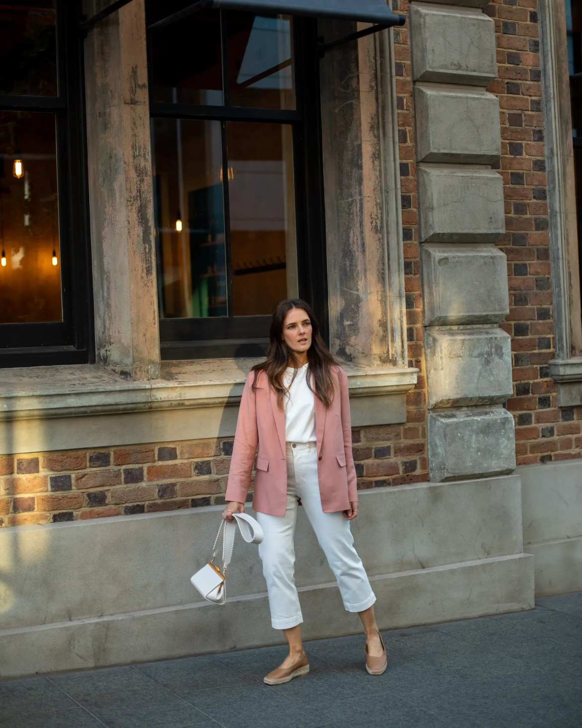 an office to weekend casual outfit idea with pink blazer worn by fashion blogger Jenelle Witty from Inspiring Wit