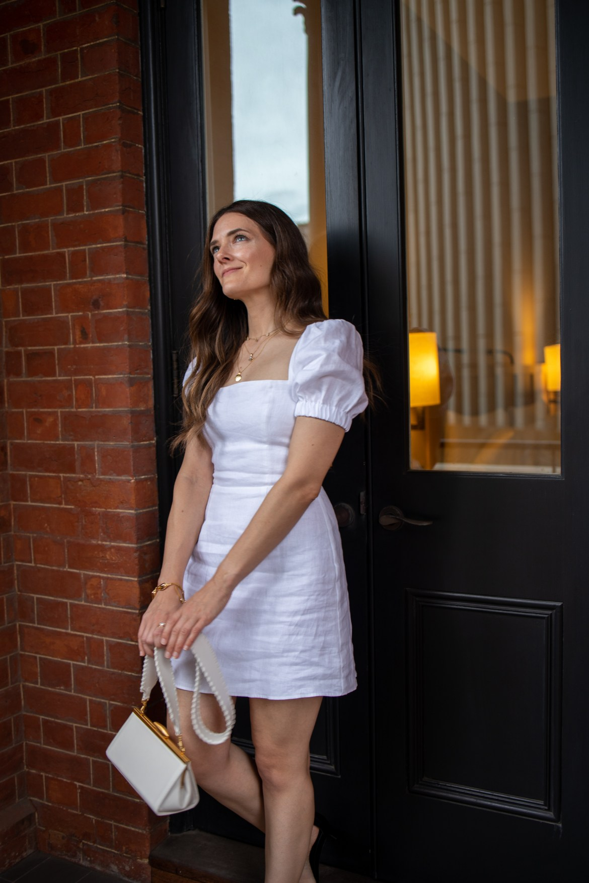 white dress and bag outfit
