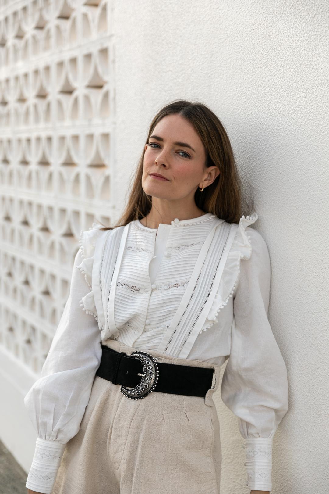 sezane belt and blouse review
