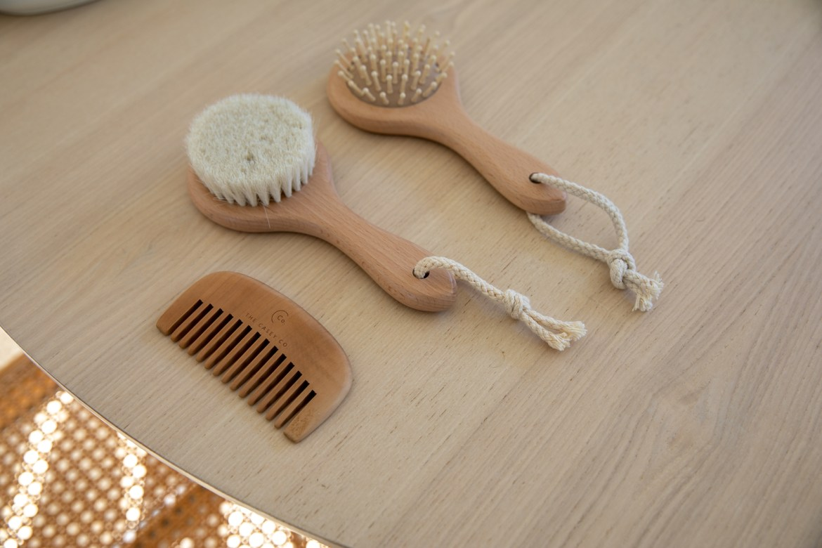 The Casey Co brush and comb set for newborns