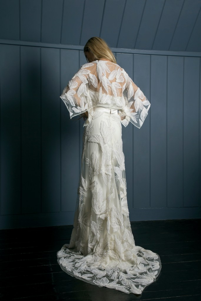 Statement embroidered bridal cape by Halfpenny London