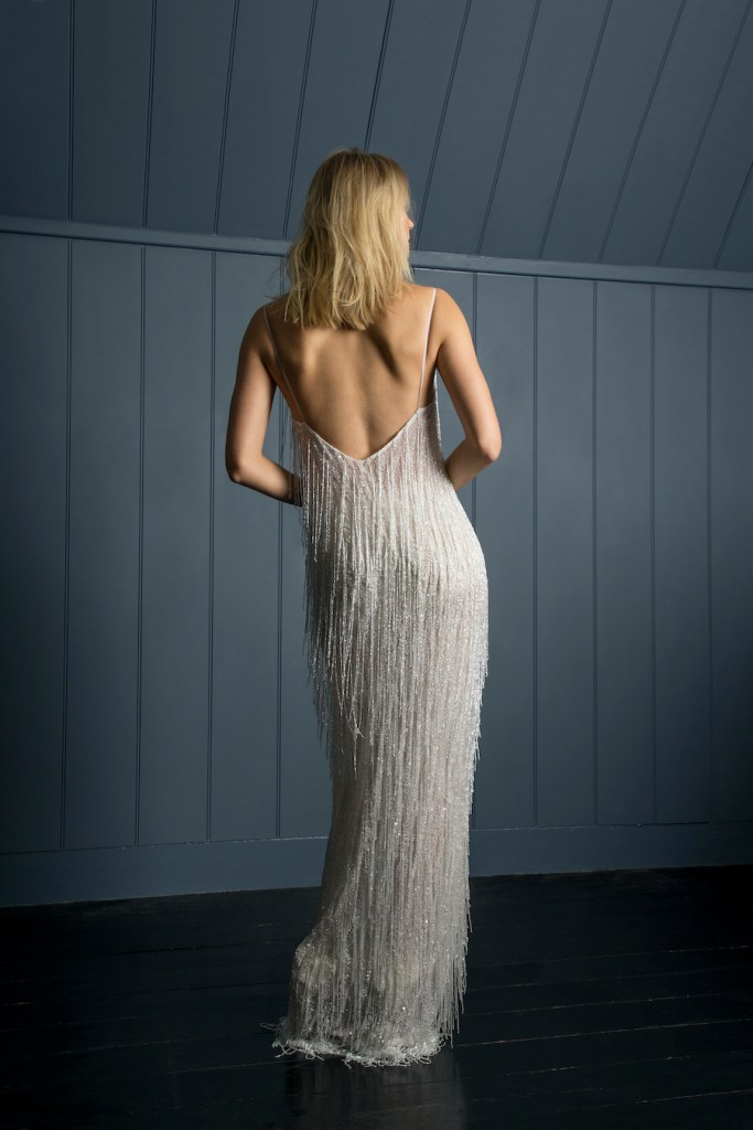 Beaded full length bridal dress by Halfpenny London