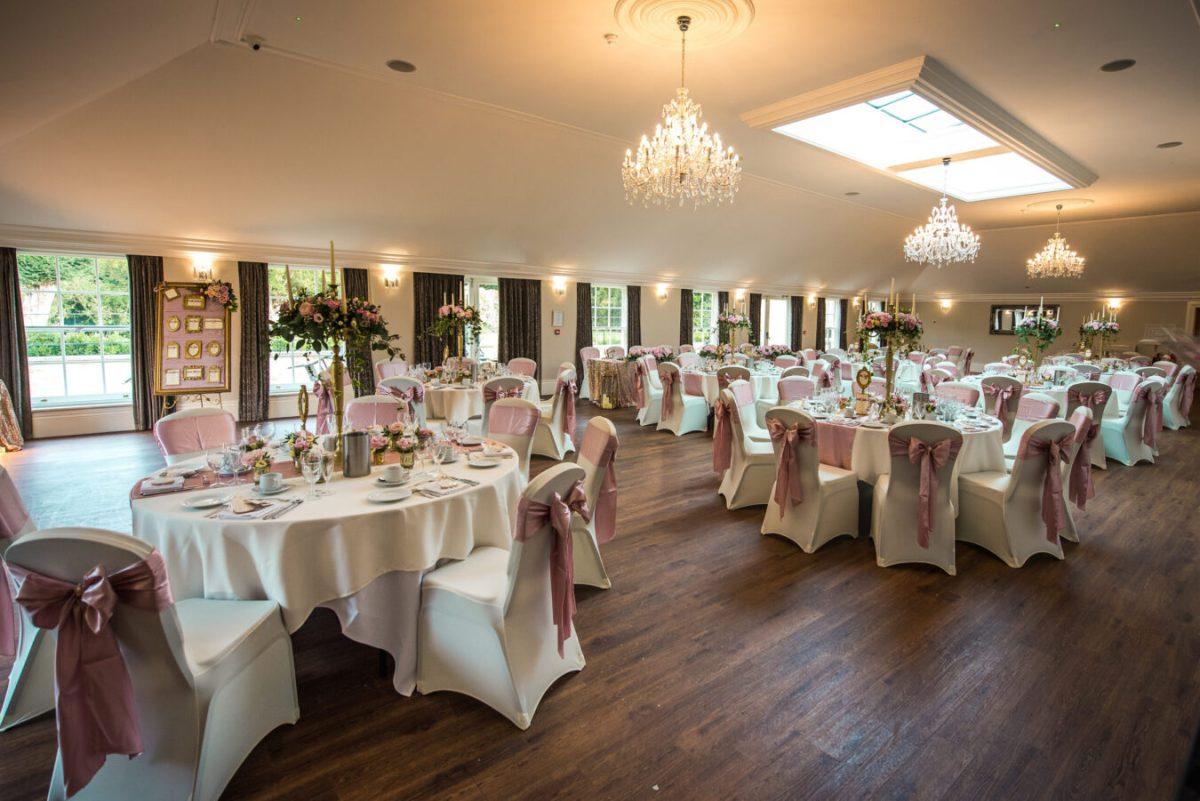The Dining Room set for a wedding at Barton Hall Northamptonshire