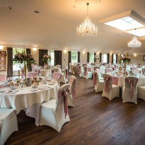 The Charles Suite set for a wedding at Barton Hall Northamptonshire