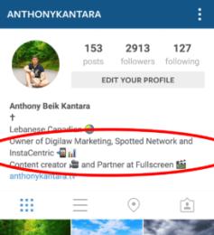 Instagram Profile Profession