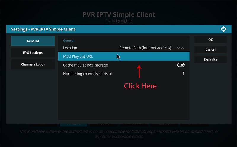 Installeer IPTV op Kodi - stap 6
