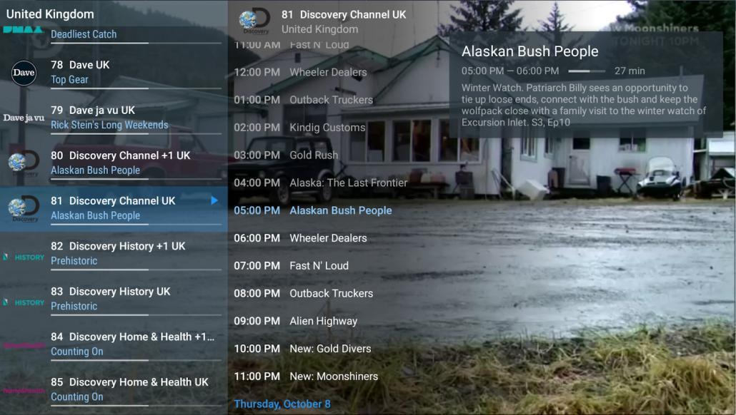 TiviMate Uitgebreide EPG voor een tv-kanaal