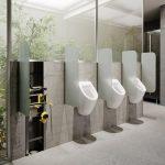 Contactloos spoelende urinoirs voor openbare ruimten
