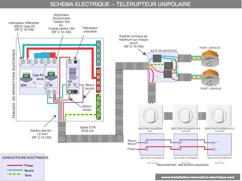 Le Schema Electrique Du Telerupteur Unipolaire Cablage Et Branchement