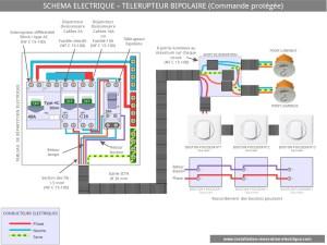 Le schéma électrique du télérupteur bipolaire
