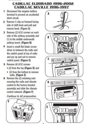 1998 Cadillac Eldorado Installation Parts, harness, wires