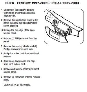2001BUICKCENTURYinstallation instructions