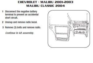 2001CHEVROLETMALIBUinstallation instructions