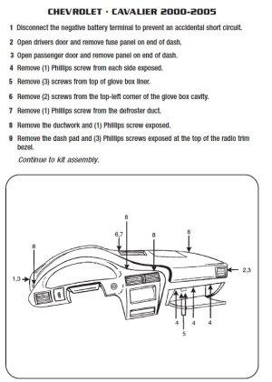 2004CHEVROLETCAVALIERinstallation instructions