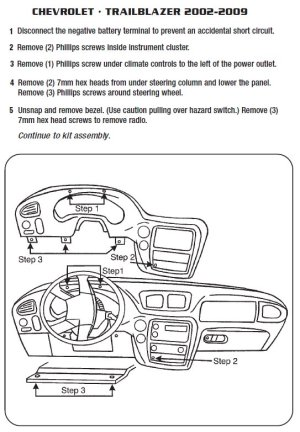 2005CHEVROLETTRAILBLAZERinstallation instructions